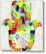 Tree Of Life Hamsa- Art By Linda Woods Metal Print