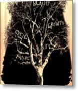 Tree Of Life Rose Tint Metal Print