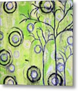 Tree Of Life Spring Abstract Tree Painting  Metal Print