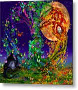 Tree Of Life With Owl And Dragon Metal Print