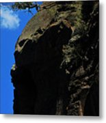 Tree On A Cliff At Battleship Rock New Mexico - 003 Metal Print
