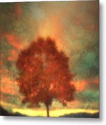 Tree On Fire Metal Print