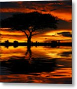 Tree Silhouette And Dramatic Sunset Metal Print