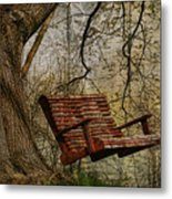 Tree Swing By The Lake Metal Print