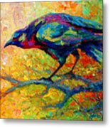 Tree Talk - Crow Metal Print by Marion Rose