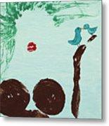 Tree With Blue Birds Metal Print