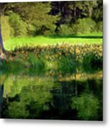 Tree With Lily Reflections Metal Print