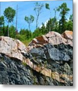 Trees Above The Pink And Grey Rock  Metal Print