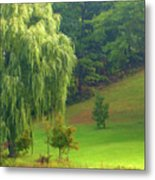 Trees Along Hill Metal Print