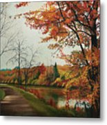 Trees Along The Canal Metal Print