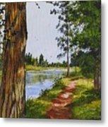 Trees Along The River Metal Print