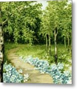 Trees And Flowers Country Scene Metal Print