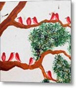 Trees And Red Birds 1 Metal Print