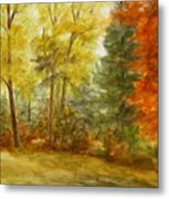 Trees At Fall Metal Print