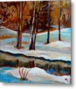 Trees At The Rivers Edge Metal Print