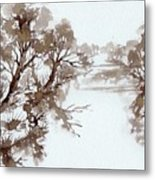 Trees By A River Metal Print