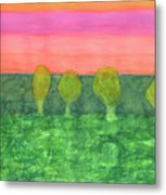 Trees, Green And Evening Sky Metal Print