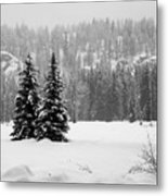 Trees In The Snow Metal Print