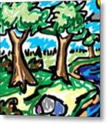 Trees W Water Ddl Metal Print