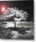 Trees With Science Fiction Sky 91774031 Metal Print