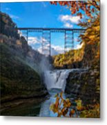 Tressel Over The High Falls Metal Print by Dick Wood