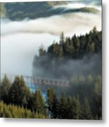 Trestle In Fog Metal Print