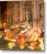 Trevi Fountain At Night Metal Print