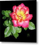 Tri-color Pink Rose2 Cutout Metal Print