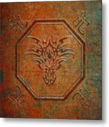 Tribal Dragon Head In Octagon With Dragon Chinese Characters Distressed Finish Metal Print
