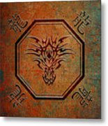Tribal Dragon Head In Octagon With Dragon Chinese Characters Metal Print