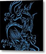 Tribal Line Chinese Dragon 1 Metal Print