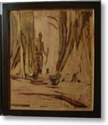 Tribal Man With Wooden Waste Metal Print
