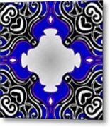 Tribal Pattern - Blue Metal Print