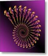 Tribal Seahorse Spiral Shell Metal Print