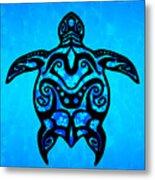 Tribal Turtle Hibiscus Metal Print
