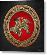 Tribute To Hokusai - Shoki Riding Lion  Metal Print