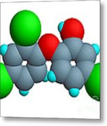 Triclosan Molecule Metal Print