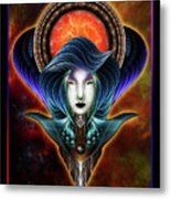 Trilia Red Nebula Fractal Art Portrait Metal Print