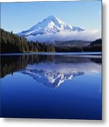 Trillium Lake With Reflection Of Mount Metal Print