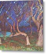 Trinity Tree By Moonlight Metal Print