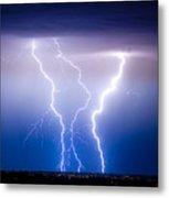 Triple Lightning Metal Print