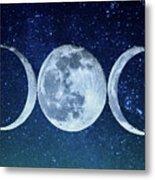 Triple Moon Milkyway Metal Print