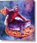 Trippy Space Sloth Turtle - Sloth Pizza Metal Print