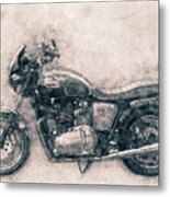 Triumph Bonneville - Standard Motorcycle - 1959 - Motorcycle Poster - Automotive Art Metal Print