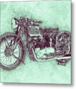 Triumph Speed Twin 3 - 1937 - Vintage Motorcycle Poster - Automotive Art Metal Print