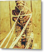 Trojan Horse Wooden Toy Being Pulled By Ropes Metal Print