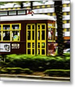 Trolley Car In Motion, New Orleans, Louisiana Metal Print
