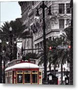Trolley On Bourbon And Canal  Metal Print