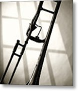 Trombone Silhouette And Window Metal Print by M K  Miller