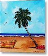 Tropical Beach Scene Metal Print